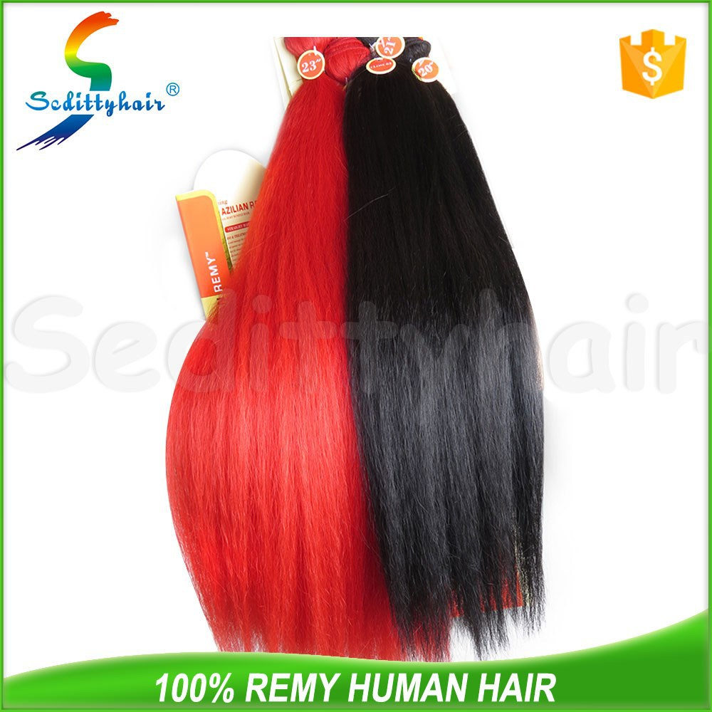 Two Tone ombre 20 inches #1 black brown and red color 8a silky straight Indian hair extension