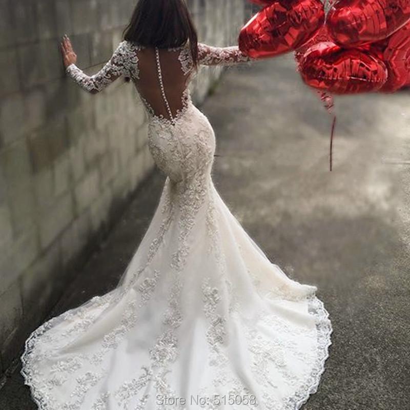 7dd6114e80b Sexy Open Back Long Sleeves Mermaid Wedding Dresses Lace Appliques 2017  Romantic Bridal Gowns-in Wedding Dresses from Weddings   Events on  Aliexpress.com ...