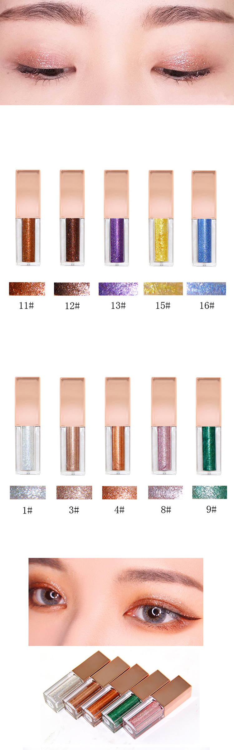 Wholesale professional customer private label cosmetics waterproof glitter liquid eyeshadow