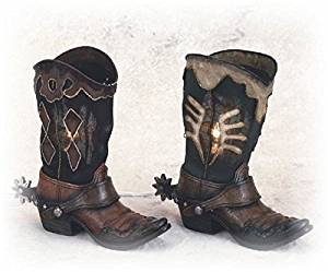 9 Inch Black and Brown Cowboy Boots Collectible Night Light, Set of 2