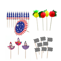 Wood Parasol Flag Decorations Party Supplies Food Picks