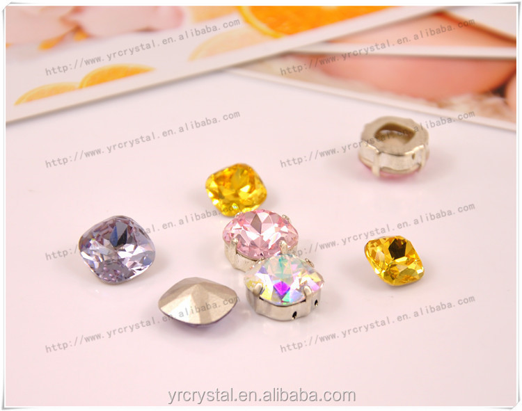 Cushion cut mixed color silver foiling fancy stone crystal gemstone jevelry