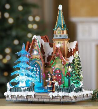 Led Fiber Optic Christmas Musical Tabletop Church Buy Led Christmas Church Christmas Decoration Church Christmas Ornament Church Product On