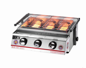 3 Burners Stainless Steel Commercial Gas Bbq Grill With Glcover