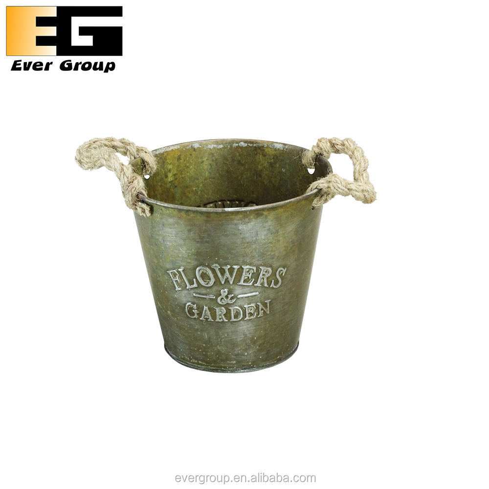 "Coppery zinc flower bucket with ""FLOWER & GARDEN"" emboss"