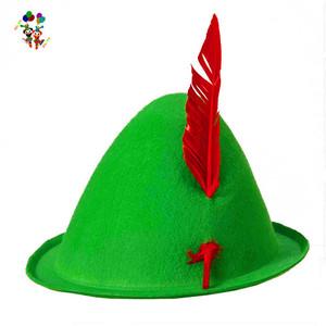 e87b19c3d Oktoberfest Bavarian German Green Alpine Felt Hats with Feather HPC-2614