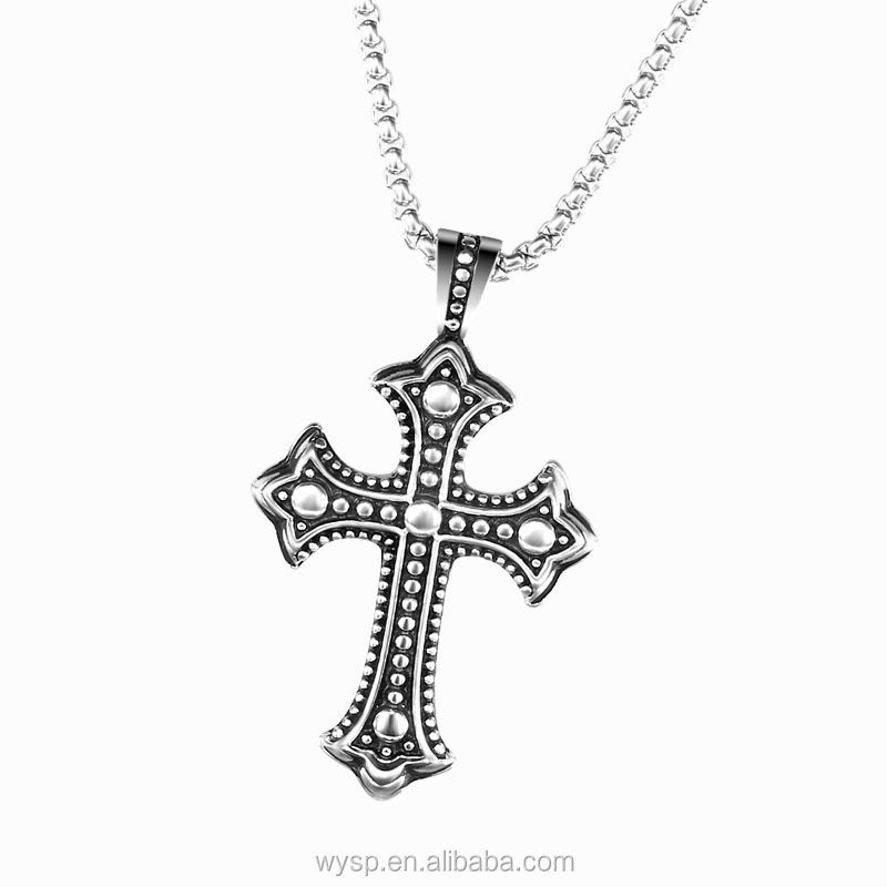 Vintage Stainless Steel Antique Celtic Cross Pendant Necklaces For Cool Men