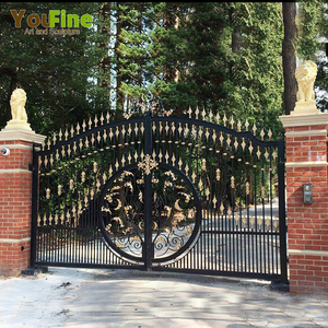 Decorative House Door Luxury Wrought Iron Gate Design For Sale