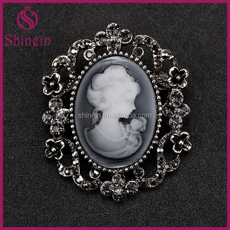 Wholesale High Quality Manufacturer vintage fashion cameo rhinestone brooch