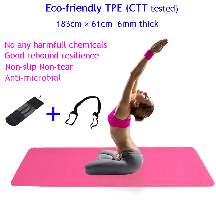 Eco-friendly CTT tested TPE 183 61cm 6mm Thick TPE Yoga Mat with free bag and rope