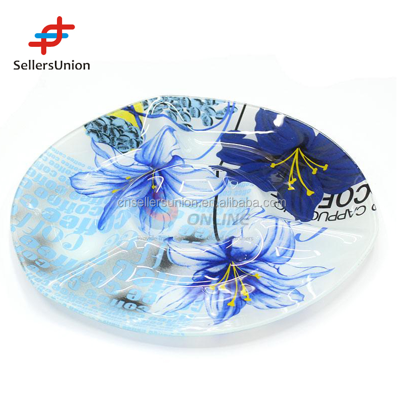 2017 Export commission agent New Blue 12 inch printed flower three measure shape glass plate for use
