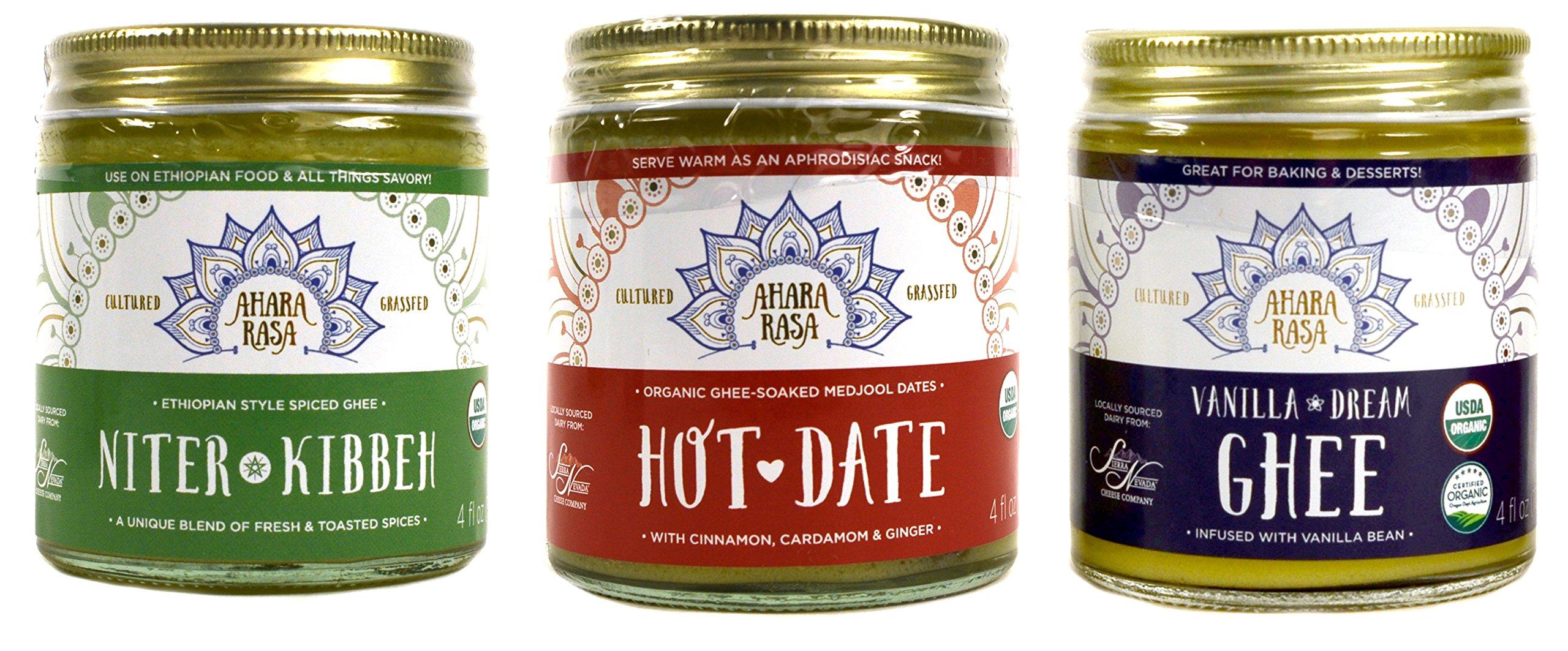 Organic Ghee Sampler - Vanilla, Hot Date (Cardamon & Medjool Dates), Niter Kibbeh (Ethiopian Spices) - Grass-Fed and Cultured - (4 oz each)