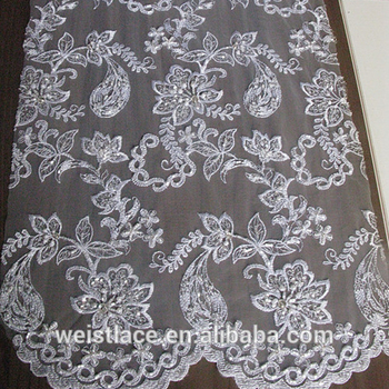 India Flower Sequin Pearl Embroidery Lace Dress Wedding New Design African Bead