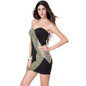 9dadc1f1d904 Fashion Gold Sequin Backless Sexy Club Dress Strapless Tight Bodycon Pencil  Tube Black Party Evening Mini