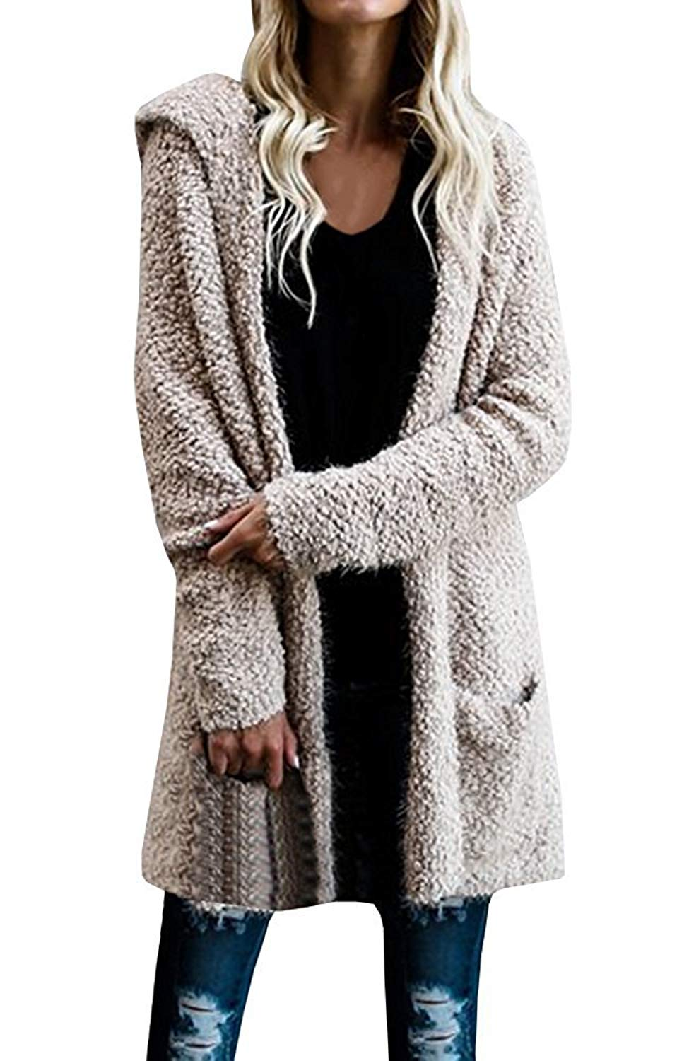 Get Quotations · Pxmoda Women Wool Knit Hoodie Long Sleeve Fleece Cardigan  Sweaters Outerwear 03493b9f3
