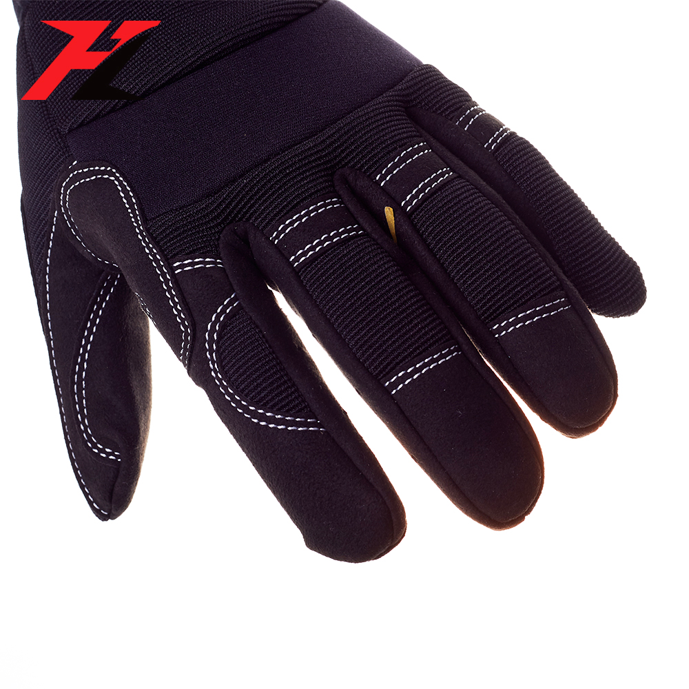 Hi-vis reflective hand industrial leather electrician mechanic gloves for working safety