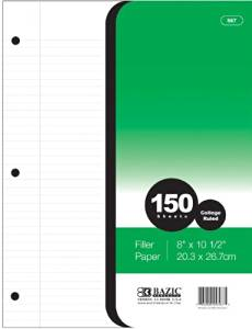 """Bazic College Rule 150 Count Filler Paper [24 Pieces] - Product Description - Bazic College Rule 150 Count Filler Paper. College Ruled 56 Gsm Paper 86 Brightness Size: 8"""" X 10 1/2"""". College Ruled Filler Paper 150 Sheets Made In Usa ..."""