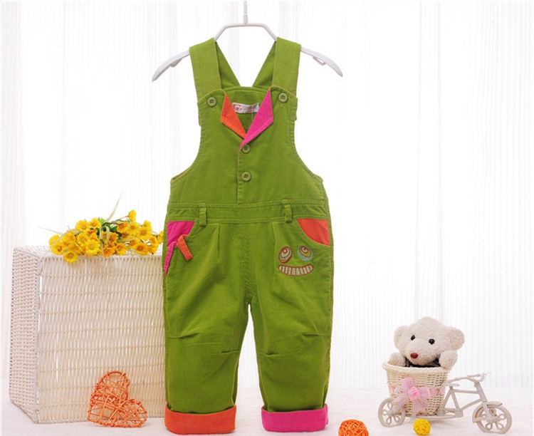 High quality 2015 kids overall baby girl boy bib pants children corduroy jumpsuit trousers patchwork toddler infant pants 00086