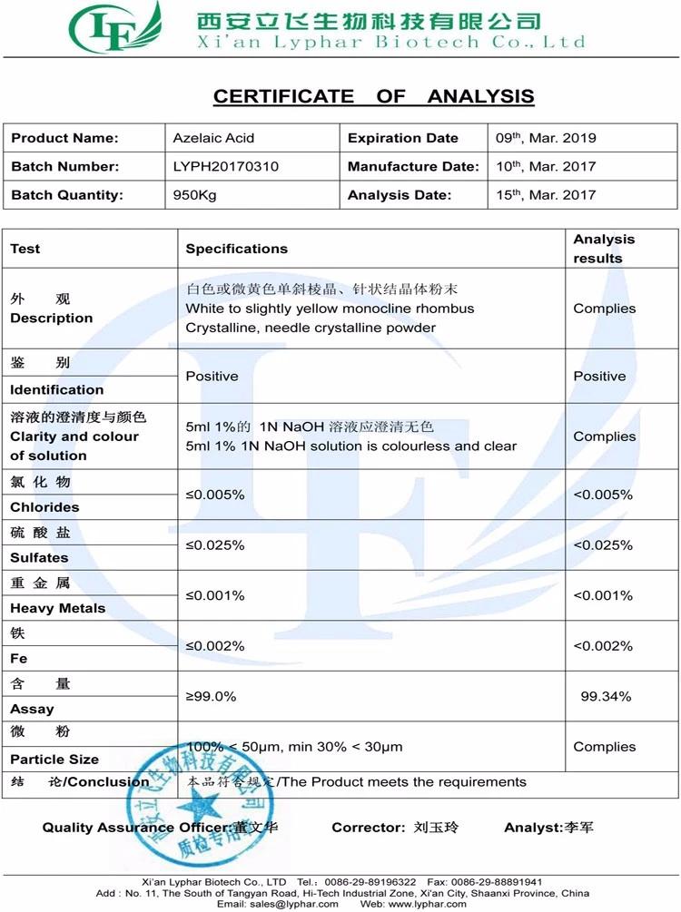 Lyphar-Angebot Bester Azelainsäure-Preis