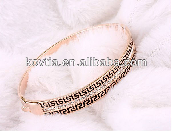 Wholesale  Fashion Trendy Jewelry Rose Gold Filled Wide Large CZ Diamond Bracelet Bangle  For Women Girls