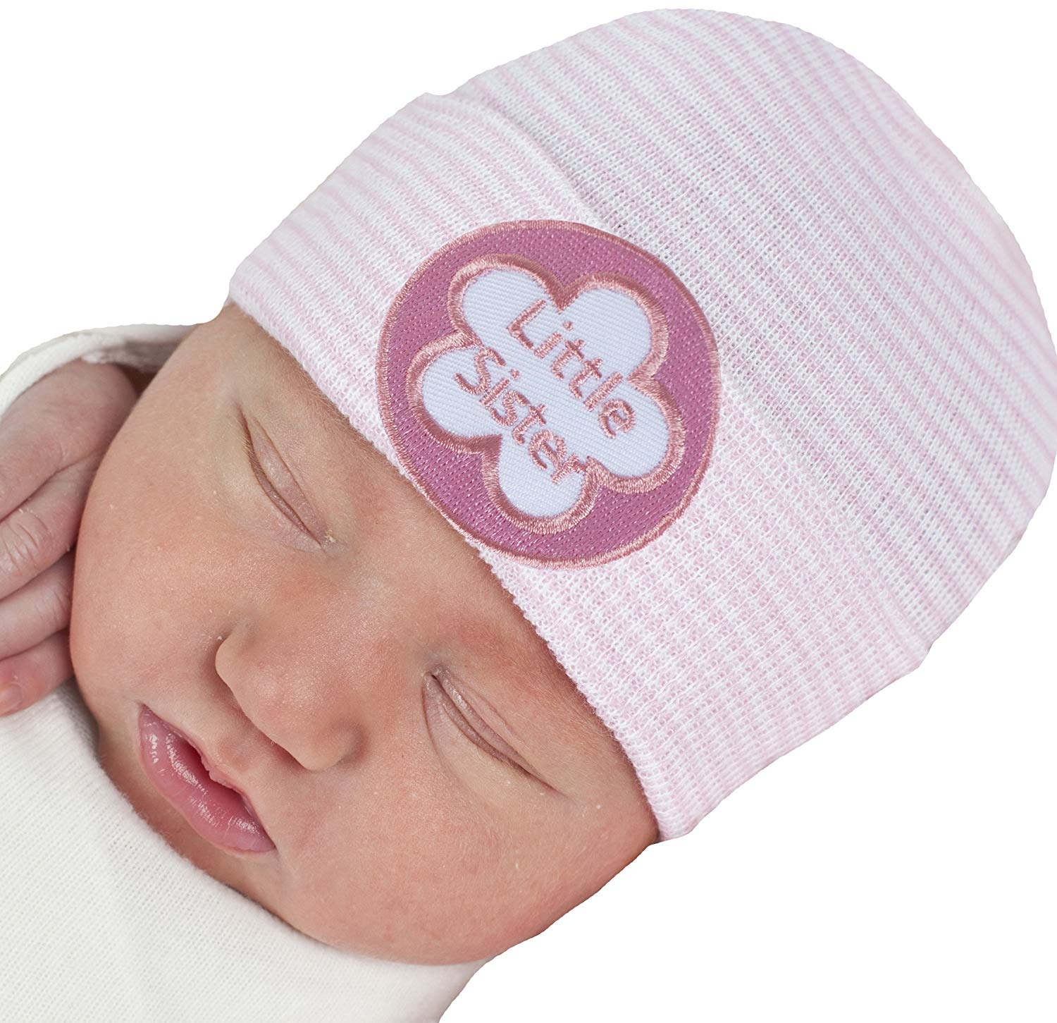 Melondipity Pink   White Striped Little Sister Newborn Girl Hospital Hat 12d7231b44a