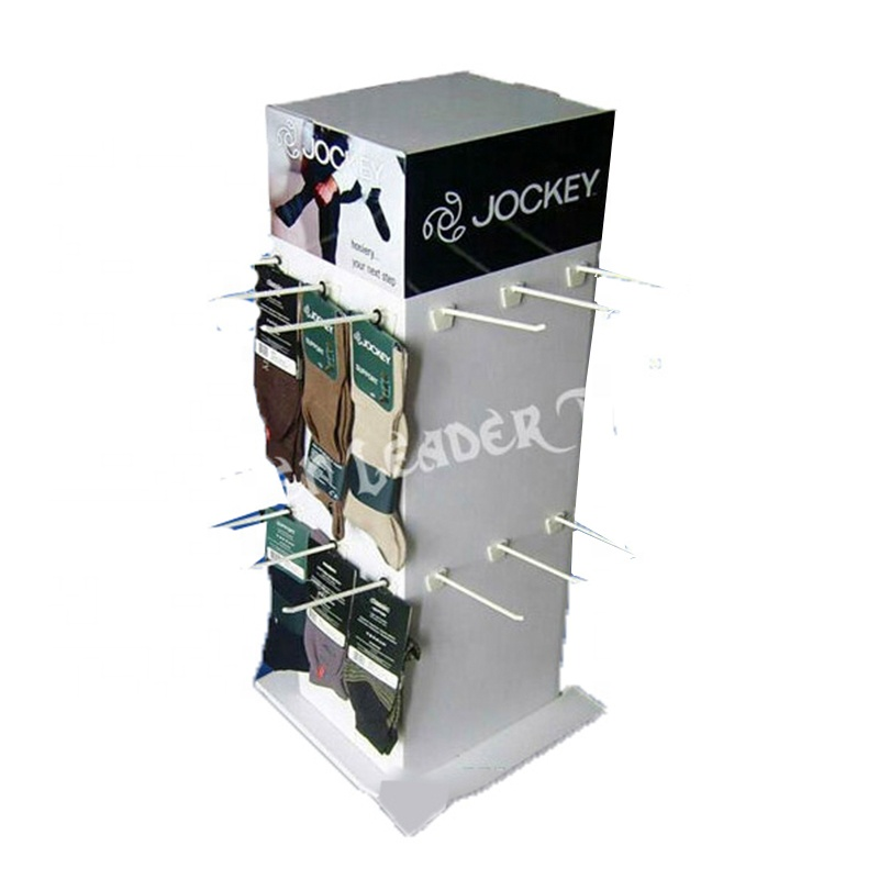 OEM Corrugated Retail Custom Cardboard Sock Peg Hook Floor Display