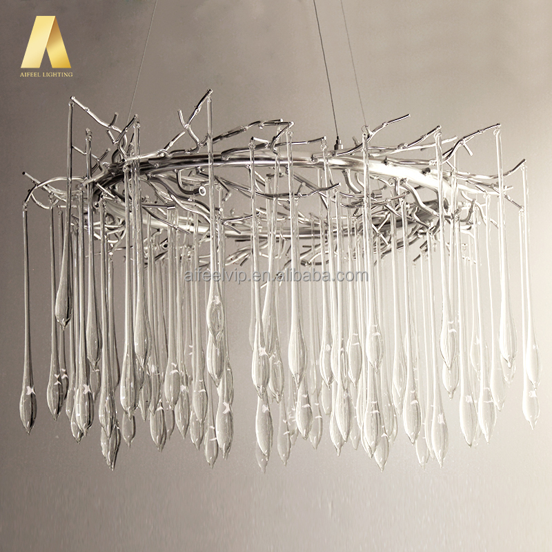<strong>Modern</strong> simplify custom tree branch shape glass drops led lighting chandeliers for home living room or lobby