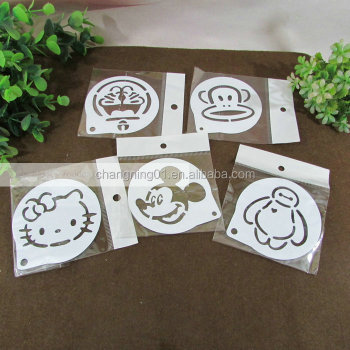 Heart Style Fancy Happy Birthday Cake Spray Mold Coffee Tiramisu MoldCake Stencils