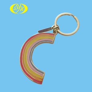Hot sale soft enamel rainbow shape charm novelty keychains, keychain metal with silver keyring