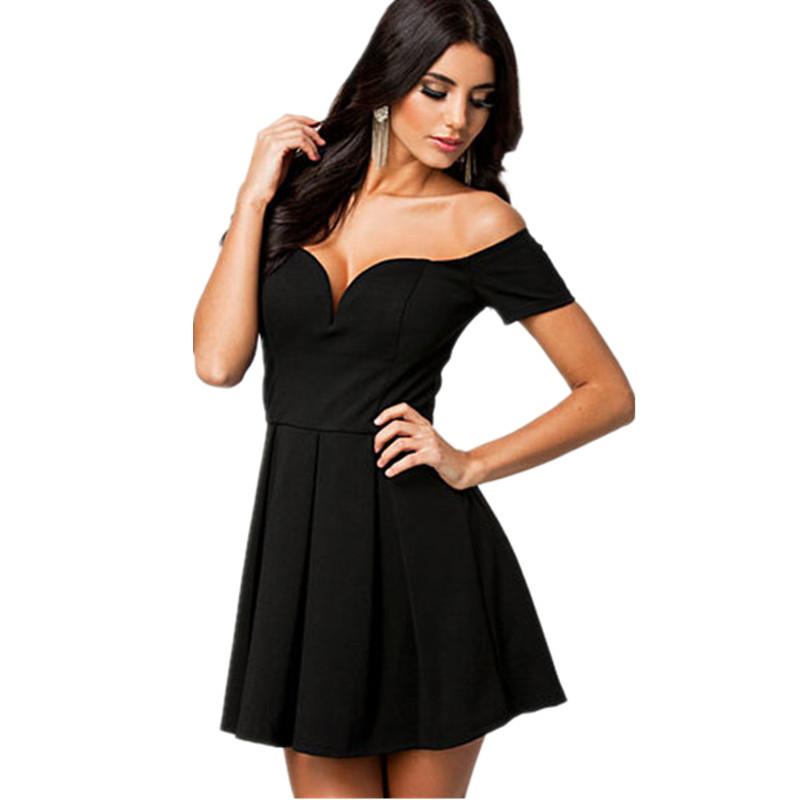 5f81470a7d Get Quotations · New 2015 vestidos festa Ladies women summer dress Black  Sexy Drop-shoulder V-neck
