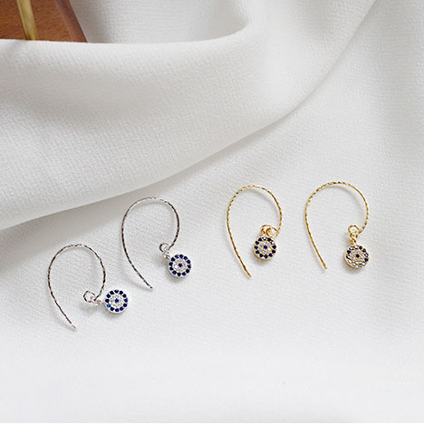 925 <strong>Sterling</strong> <strong>Silver</strong> Tiny Crystal <strong>Drop</strong> <strong>Earrings</strong> Zircon Eye Of The Devil <strong>Drop</strong> <strong>Earring</strong> Gold And <strong>Silver</strong> Gift For Her Jewelry