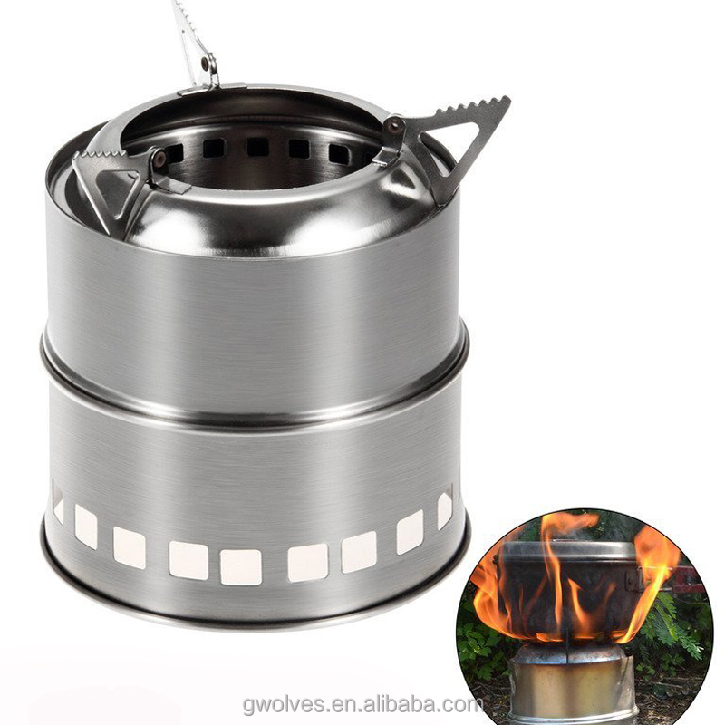 Wood burning stove outdoor camping stainless steel portable stove