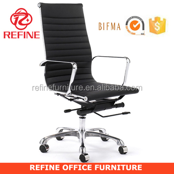 High Quality Back Incredible Chrome Executive Ripple Black Leather Office Chair Rf S074d