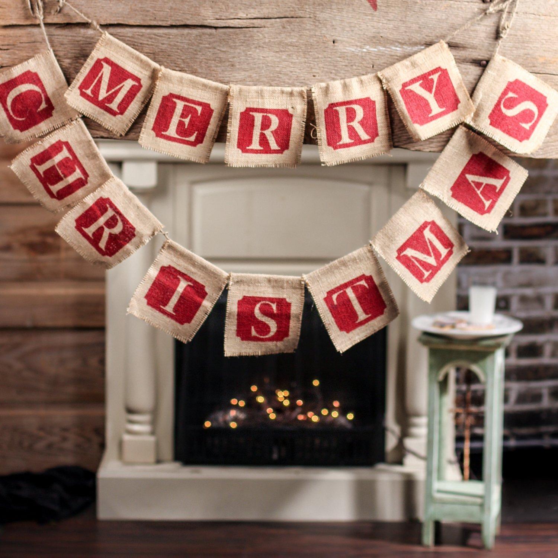 Factory Direct Craft 100% Natural Jute Burlap Merry Christmas Garlands