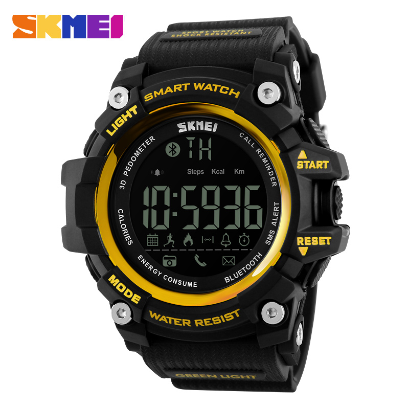 SKMEI 1227 Fashion LED Digital Bluetooth Smart Sport Men Watch 50M Waterproof Light Clock Male Watches for Man Relogio, 4 colors for choose from