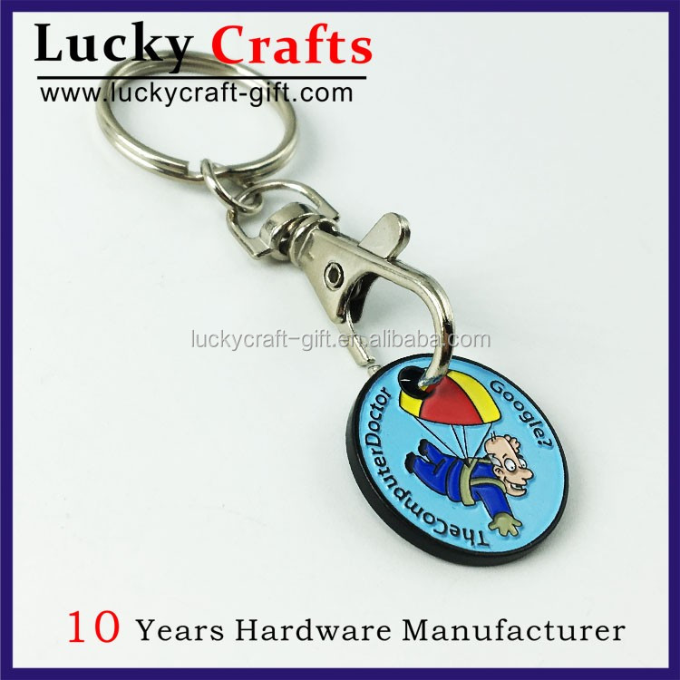 best selling soft enamel trolley coin holder keychain with key ring
