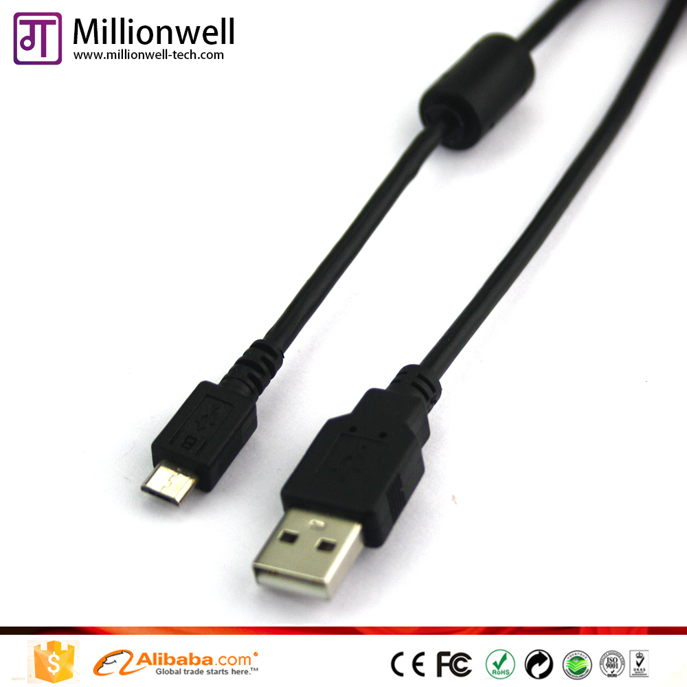 1m Black USB 2.0 Micro data link cable with Ferrite Core