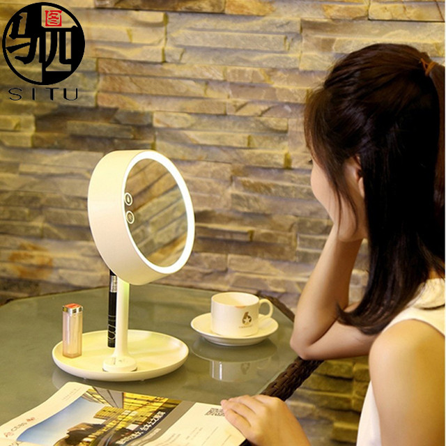 Table Lamp Makeup Mirror With Touch Screen USB Charging Cosmetic makeup mirror
