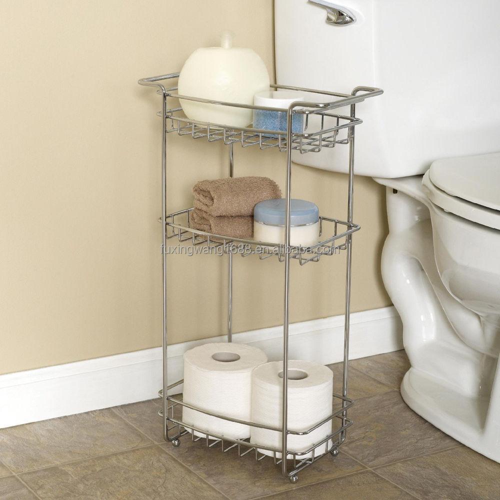 New Bathroom Cart Shelf Floor Stand Laundry Office Slim Chrome 3 Tier Storage