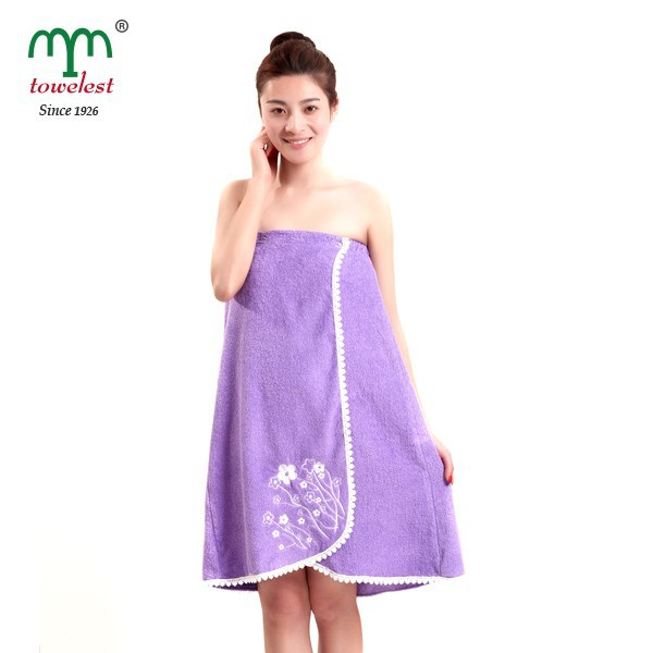 Women's 100% Cotton Bath Towel Wrap Embroidery Shower Wrap Body Wrap
