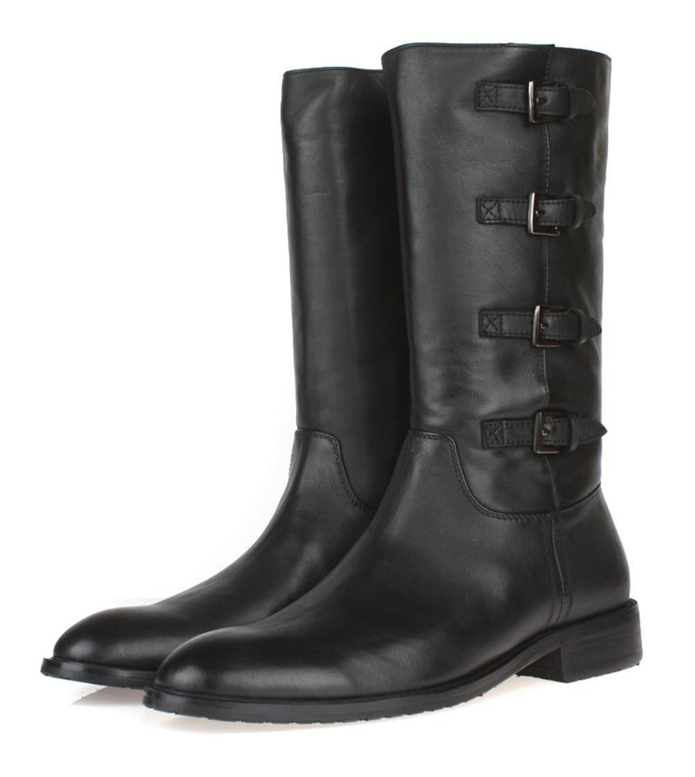 2016 new fashion zipper black mens winter boots genuine