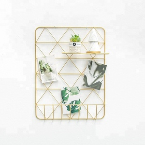 550-88C home decor hanging gold wire wall grid for living room bedroom