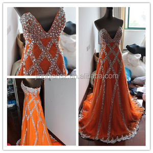 exquisite real sample sexy Deep V-neck heavy beaded full crystal luxury orange evening gown #OE1