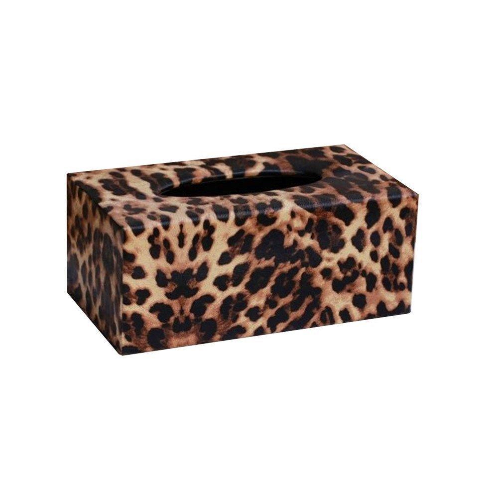 Kangkang@ Fashion Leopard Vintage Paper Holder/tissue Box,large (24*12*10cm) Top Grade Leather Tissue Box Car KTV Hotel Dedicated Smoke Box Leopard Grain Tissue Box