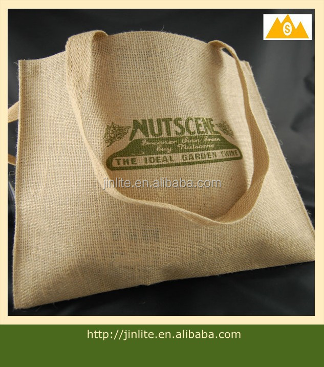 color jute bag/natural jute wholesale tote bags/bamboo handle jute tote bag