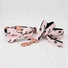 Amazon Best Selling Pink Eyelash Patterned Dog Collar and Leash Set For Dogs
