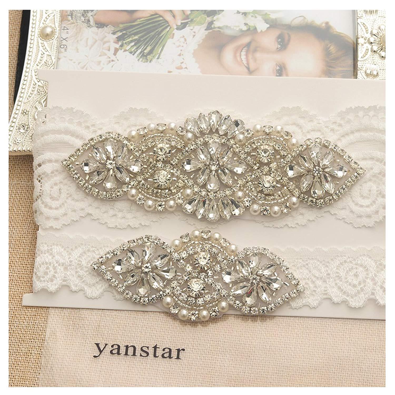 eef9aba9d Get Quotations · Yanstar Wedding Bridal Garter Set White Champange Navy  Lace For Bridal Accessories Rhinestone Garter Lace …