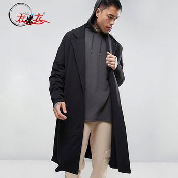 6e468f2bb3b58 Black Long Wrap Wool Coat Drop Shoulder Trench Coat Men - Buy Trench ...
