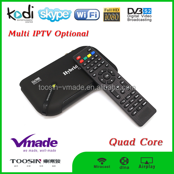 s2 android stb 1080p android 4.4 tv box Amlogic S805 Quad core android+dvb s2 tv box 2.4G wifi arabic iptv box free