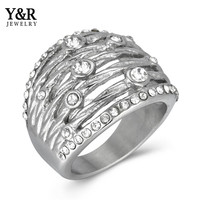Pave Setting Stainless Steel Jewelry Woman Diamond Finger Ring